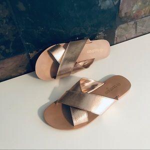 Rose gold boohoo slide sandals. Size 9